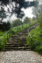 Steep cobbled pathway up hillside Royalty Free Stock Photo