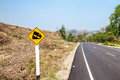 Steep descent in thailand the roads for a are marked with a plaque traffic Royalty Free Stock Photography