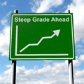 Steep grade sign with rising sales chart Stock Photography