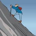 Steep hike man with walking sticks climbing incline Stock Photo