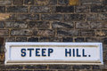 Steep Hill Street Sign in Lincoln UK Royalty Free Stock Photo