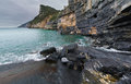 Steep shoreline cliffs along the rocky sometimes called byrons grotto near porto venere italy Stock Photography