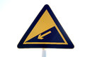 Steep slope road sign in white background Royalty Free Stock Images