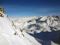 Steep snow face majestic swiss alps background Stock Photos