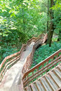 Steep stair in a ravine winding for lowering Stock Photos