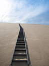 Steep stairs going on top of sand Dune of Pyla Royalty Free Stock Photo
