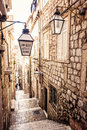Steep stairs and narrow street in old town of Dubrovnik Royalty Free Stock Photo