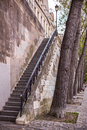 Steep stairs at the paris embankment and trees dusk Royalty Free Stock Photography