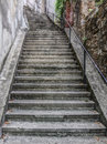 Steep stairway going up to the Trsat Castle. Royalty Free Stock Photo