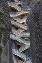 Steep steps rising up Guatape Rock, the Piedra el Penol, Colombi Royalty Free Stock Photo