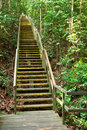 Steep Wooden Staircase Challenge Royalty Free Stock Photo