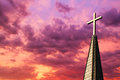 Steeple Cross at Sunset Stock Image