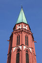 Steeple of the old nicolai church frankfurt in germany Stock Images