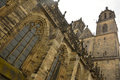 Steeples of the dom in magdeburg germany – april viewed from side cathedral Stock Images