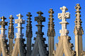 Steeples duomo cathedral milan on the roof of italy Royalty Free Stock Images