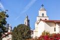Steeples White Adobe Mission Santa Barbara Cross Bell California Stock Photography