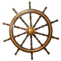 Steering whee ancient wheel from the sailing vessel on isolated white background Stock Image