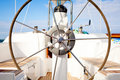 Steering wheel on boat Royalty Free Stock Photo