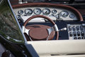 Steering wheel and dashboard of a luxury yacht Royalty Free Stock Photo