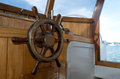 Steering wheel of old boat classic lunch Royalty Free Stock Image