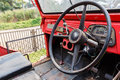 Steering wheel old jeep red Royalty Free Stock Photography