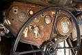 Steering wheel of old truck and dashboard Royalty Free Stock Images