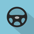 Steering wheel picture of a black flat style icon Stock Photos