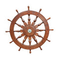 Steering wheel of sailing boat cutout Royalty Free Stock Photo