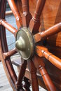 Steering wheel of the tall ship on deck in glasgow Royalty Free Stock Photography