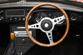 Steering wheel wooden from a mgb roadster sports car Stock Photos