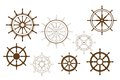 Steering wheels set for heraldry or marine design Stock Image