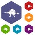 Stegosaurus dinosaur icons set hexagon