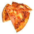 Stein gebackener ham and pineapple pizza slices Lizenzfreie Stockbilder
