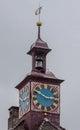Stein am rhein switzerland detail of the clock tower of the mayor house Royalty Free Stock Photo