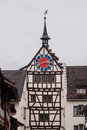 Stein am rhein switzerland the facade of a historical building with a clock tower Royalty Free Stock Photography