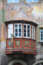 Stein am rhein wonderful old balconies and wall paintings in the medieval historic center of in switzerland photo was taken in Royalty Free Stock Photo