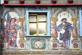 Stein am rhein wonderful old wall paintings in the medieval historic center of in switzerland Royalty Free Stock Images