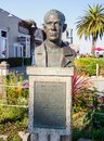 Steinbeck statue famous writer john was born in monterey and a pays homage to him in the port Royalty Free Stock Images