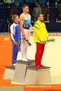 Stella zakharova cup in kyiv ukraine roman shklyarenko the center rokas guscinas lithuania on the right and nikita ermak on the Royalty Free Stock Image