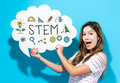 STEM text with young woman holding a speech bubble