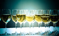 Stemware of champagne on a white table banquet toned Royalty Free Stock Photography