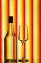 Stemware & liquor bottle Royalty Free Stock Photography