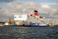 Stena line ferry float output of passenger from the port of gdynia Stock Image