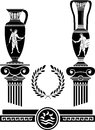 Stencil of ancient columns and jugs vector illustration Stock Image