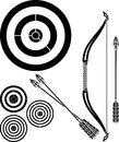 Stencil of bow, arrows and targets Stock Images