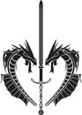 Stencil dragons medieval sword illustration Stock Photos
