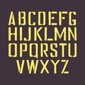 Stencil english alphabet. Stamp stencil letters with a frame. Stamp isolated font for urban retro signage. Royalty Free Stock Photo
