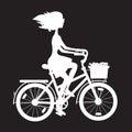 Stencil girl on bike Royalty Free Stock Photo