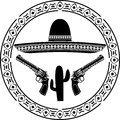 Stencil of mexican sombrero and two pistols