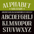 Stencil plate serif font bold face white on black background Stock Image